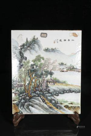 republic Wang Ye Ting Powder enamel plate with landscape des
