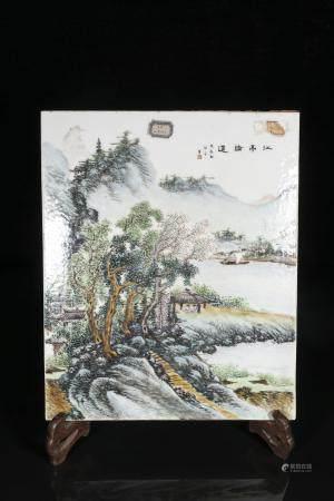 republic Wang Ye Ting Powder enamel plate with landscape des