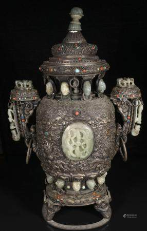 Qing Dynasty Aromatherapy with silver inlaid jade