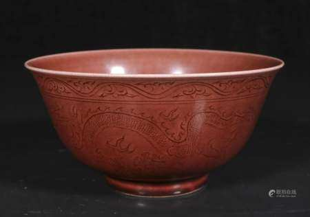 qing dynasty Dragon bowl with red glaze