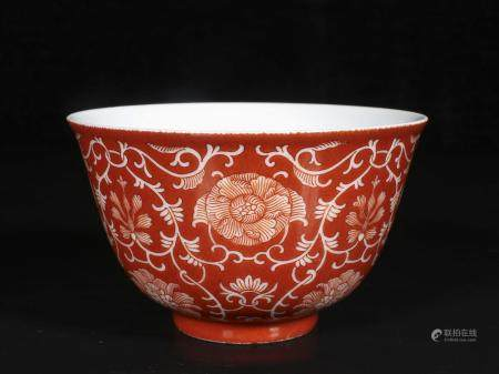 qing dynasty Coral ground flower bowl8