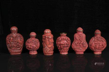 republic Lacquer snuff bottles six
