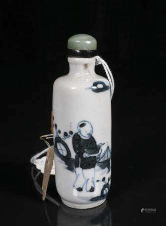 Qing Kangxi blue and white figure snuff bottle