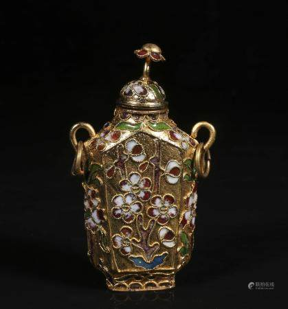 Mid-twentieth century copper wire enamel snuff bottle