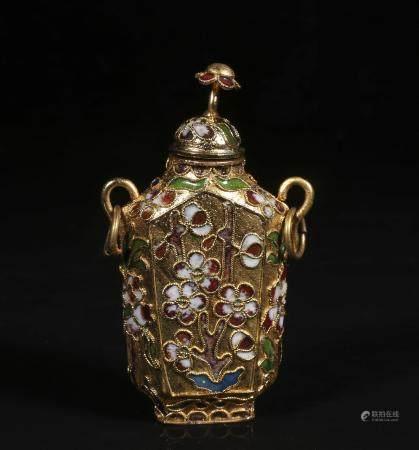 Mid-twentieth century copper wire enamel snuff bottle