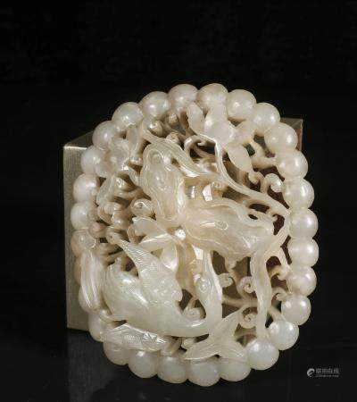 Ming dynasty Jade carving haidong green leather belt buckle