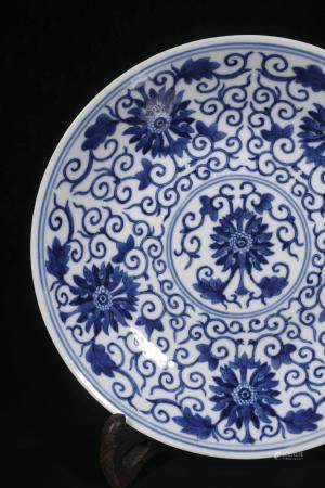 Qing Guangxu blue and white wrapped lotus - grain plate
