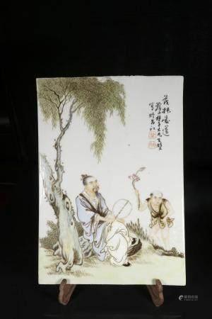 republic Wang Dafan powder enamel plate with figures