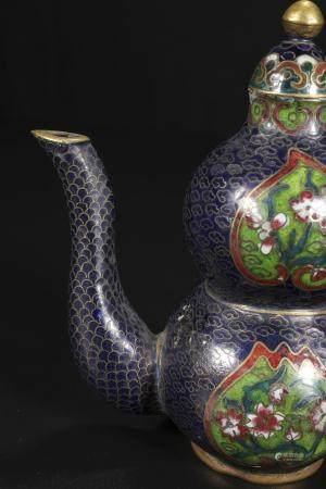 Copper wire - cut enamel teapot