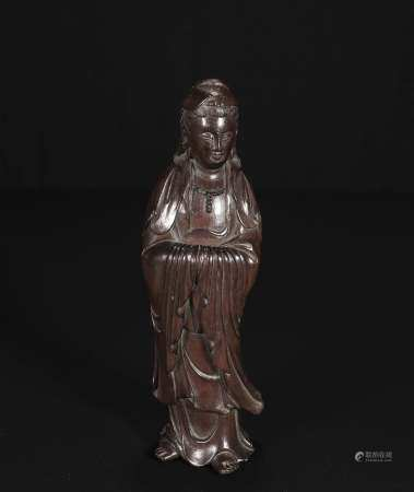 qing dynasty Poplar wood carving Guanyin