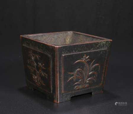 qing dynasty bronze square incense burner