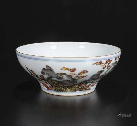 republic Powder enamel bowl with flowers and birds
