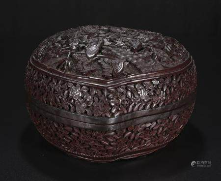 Qing Dynasty Peach shaped lacquer box