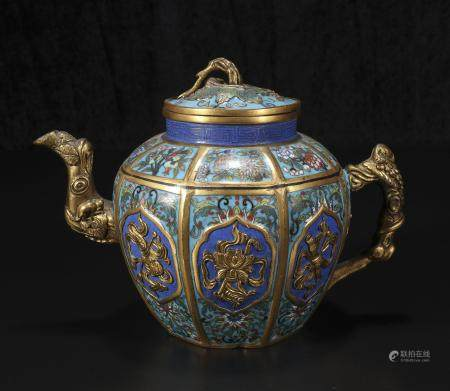 Qing Dynasty Jiaqing copper wire enamel teapot with eight tr