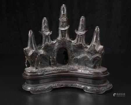Qing Dynasty bronze shanzi penholder
