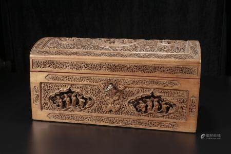 Qing Dynasty Clear sandalwood jewelry box