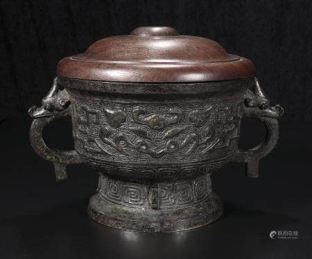 Bronze two-Ear incense burner
