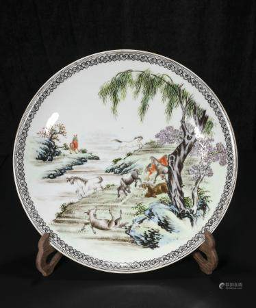 republic Powder enamel plate with eight jun designs