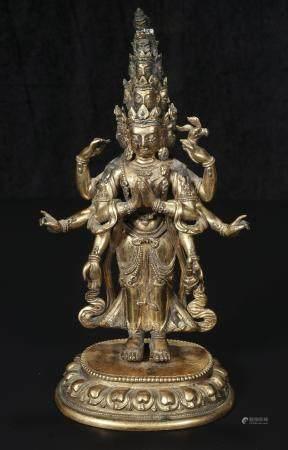 Qing Qianlong bronze gilt eleven Buddha statues