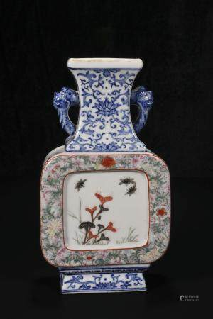 republic Powder enamel vase with floral and bird ears