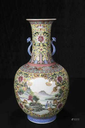 republic Powder enamel vase with bright ears