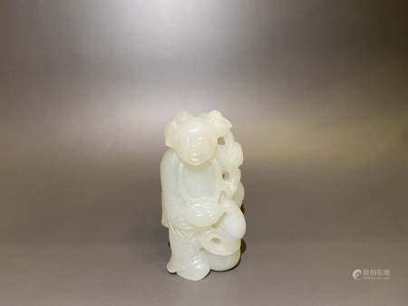 Qing Dynasty White Jade Boy