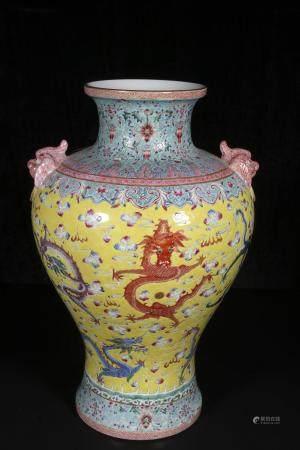 Mid-twentieth century Yellow ground powder enamel vase with