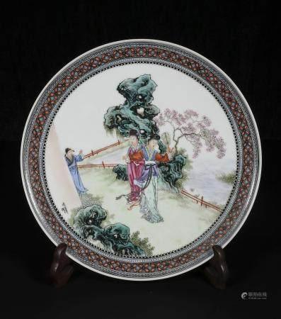 Mid-twentieth century xiong Xiao Feng Powder enamel plate