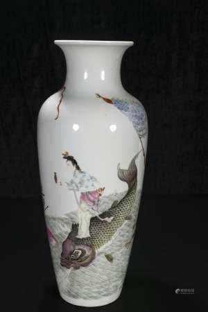 republic Powder enamel vase with guanyin character