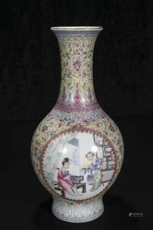 republic Powder enamel vase with illuminated figures