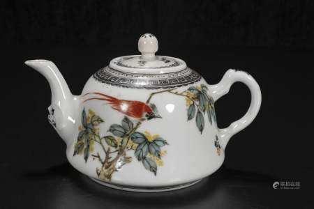 republic Wang Yi Fan The teapot with flower and bird pattern