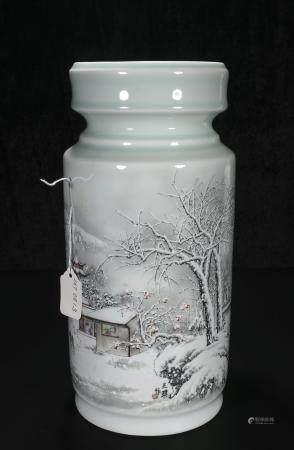 Mid-twentieth century Wang Qi Snow figure vase