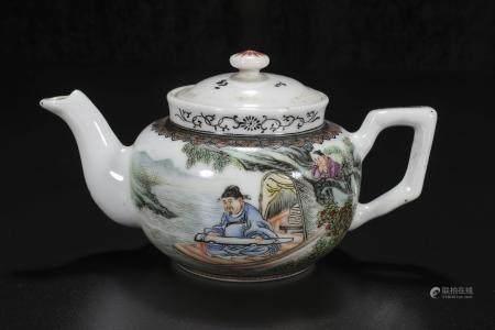republic Rao Hua Jie Powder enamel character teapot