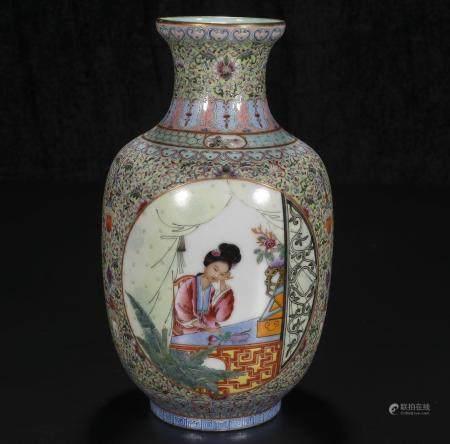 republic Enameled glazed figure bottle