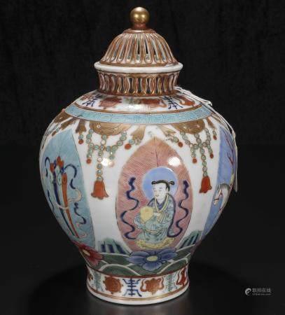 Republic Period Powder enamel vase with eight caps