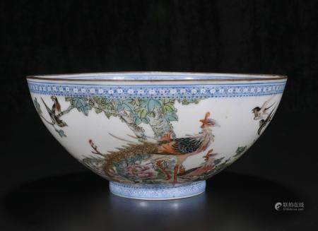 Mid-twentieth century Powder enamel bowl with flowers and bi