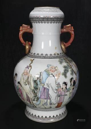 Mid-twentieth century Cao Zhi You Powder enamel vase with tw