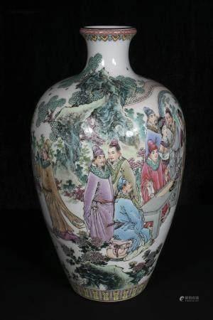 Mid-20th century Cao Mu Lin Powder enamel vase with 18 strip