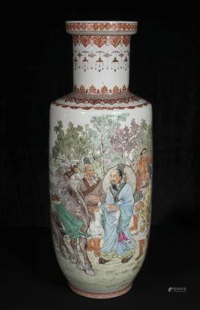 Mid-20th century Du Hao Sheng powder enamel figure bottles