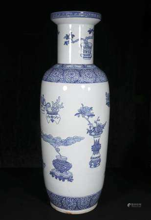 Mid-20th century Blue and white Vase with graphics