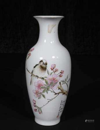 Mid-20th century Powder enamel vase with peach blossom patte