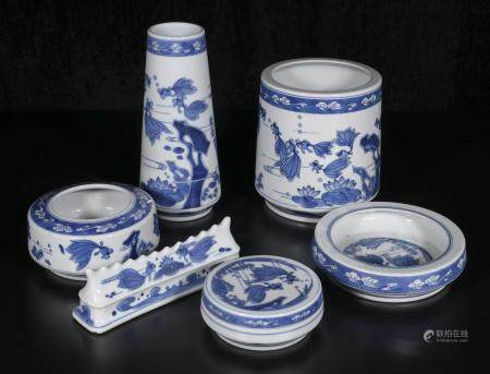 Mid-20th century Blue and white study room set of six