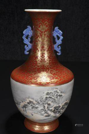 republic Powder enamel vase with snow scene and two ears