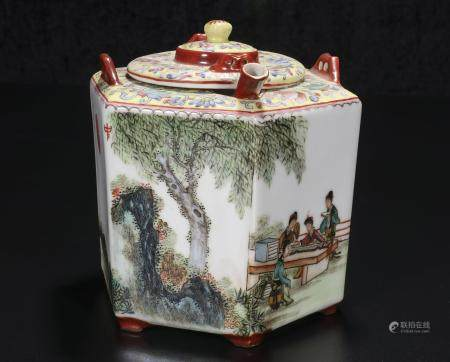 republic Zheng Sou Mei Powder enamel vase with warm wine des