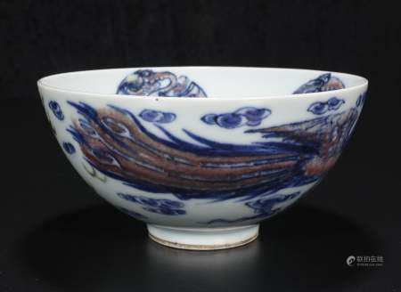 qing dynasty Blue and white glaze red dragon and phoenix gra