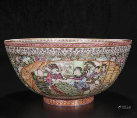 Mid-20th century powder enamel bowl with character pattern