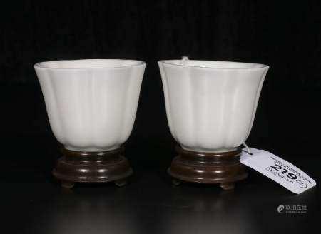 Qing Kangxi dehua small cup pair