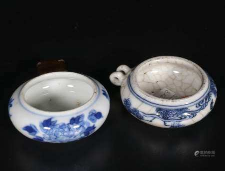 Qianlong Period Two green flower and bird food jars