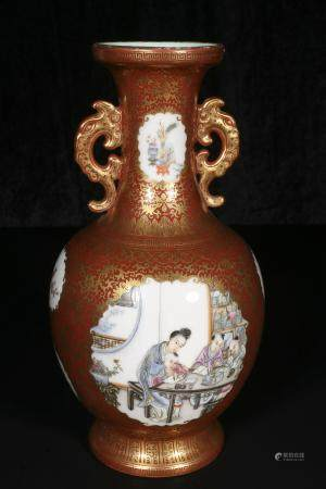 republic Coral tracing gold open light amphora bottle