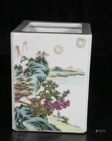 republic Powder enamel brush holder with landscape design